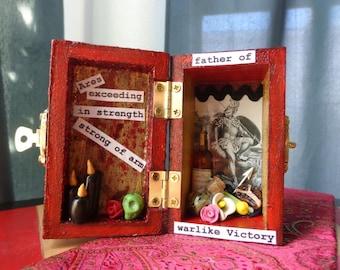 Ares Mini Box Shrine. Miniature Nicho.  Travel Altar. Shadow Box. Mars. Shadow Box. Mixed Media Altered Art.