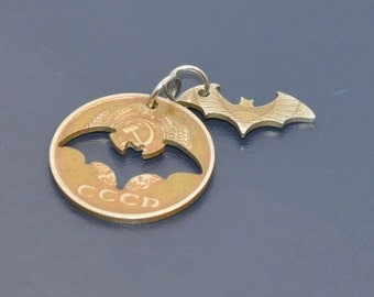 Halloween double bat set. Brown antique. Cut coin pendant necklace charm. Soviet 20 kopeck coin. Coincut jewelry by invicia.