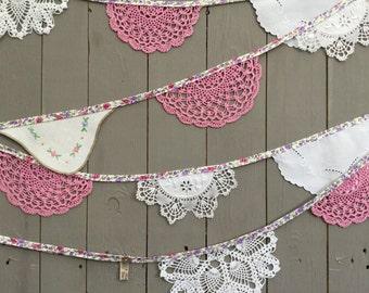 Vintage Bunting - Wedding Bunting - Vintage Tea Party - Outdoor Wedding Bunting - Wedding Garland - Afternoon Tea Bunting - Doily Bunting