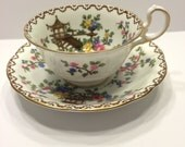 Vintage Aynsley Pagoda Pattern Tea Cup snd Saucer Made in England  Fine Bone China 1930s/1940s  Footed Tea Cup Matching Saucer John Aynsley