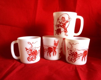 Vintage Hazel Atlas Milk Glass Circus Themed Mugs Clowns and Donkey Vintage Milkglass Mugs  Set of Four