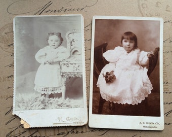 Antique Photo Cabinet Cards Set of Two Antique Photographs of Toddler Girls Victorian Era Photographs of Children Fancy Dressed
