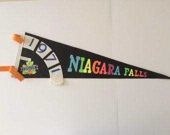 Vintage Niagra Falls Souvenier Felt Pennant 1971 Niagra Falls Canada Pennant  Black Pennant With Rainbow Letters Travel Souvenir