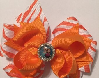 Orange Chevron Hairbow/Large Hairbow/Stacked Hairbow