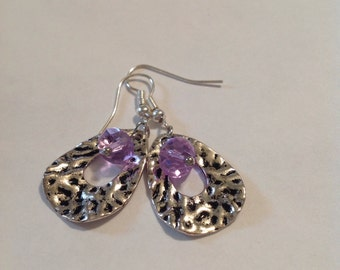 Silver Textured Charm Earrings/Nickel Free Silver Earrings/Crafting Beads/Silver Ear Wires/Silver Jewerly