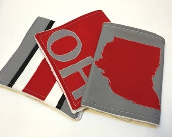 Red & Gray Ohio Burp Cloths (Set of 3)