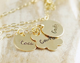 Hand Stamped Jewelry - Hand Stamped Necklace - Family Jewelry -Personalized Mom Necklace - Gold Discs with Childrens Names - Mothers Jewelry