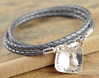 Personalized Bracelet - Hand Stamped Bracelet - Leather Bracelet - Name Charm Bracelet - Mom Bracelet - Mothers Jewelry - Gift for Her