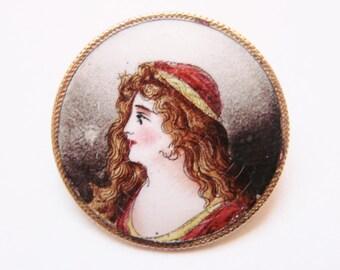 Antique Enamel Hand Painted Portrait Brooch / Renaissance / Miniature Portrait / 1800s Jewelry / Jewellery