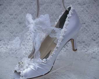 Brides Ivory Satin Wedding Shoes Peep Toes Medium Heel,embellished pearls, crystals, lace, Mary Jane, Lace Up Tie Up Pump, Old Hollywood