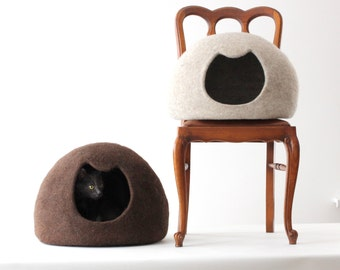 Cat bed - cat cave - cat house - wool cat bed - natural beige felted cat bed - made to order