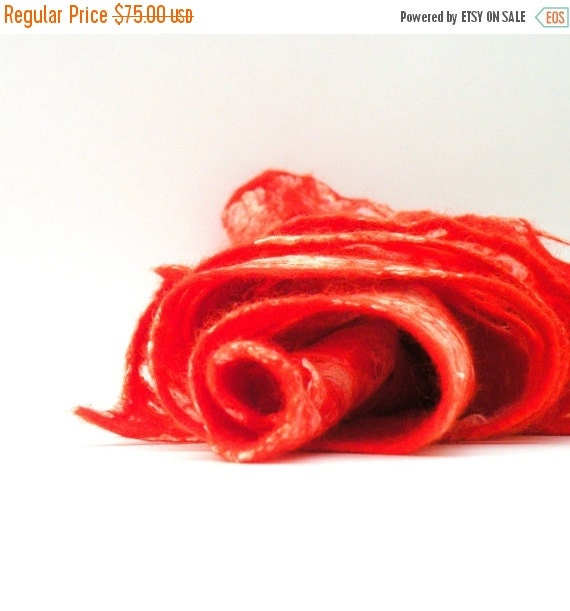 SALE Cobweb wet felted merino wool and silk red orange scarf - felted scarf - weddings accsessorie - autumn fall fashion