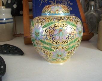 Cloisonne-Enamel Ginger Jar, Brass, Vintage , Champleve