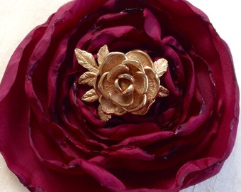 1980s Golden Rose Brooch by Sarah Coventry