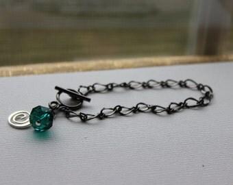 Green Swarovski Crystal and Spiral Toggle Bracelet