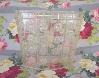 Retro Crystal Lucite Waste Basket,Trash Can, Starburst Design, Clear Acrylic, Mid Century Home Decor, Circa 1960's