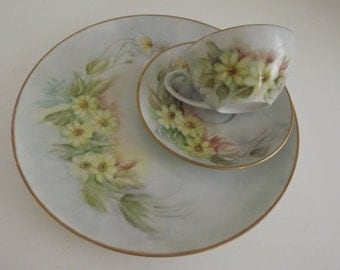 Vintage Hand Painted Limoges, Dinner Plate, Cup & Saucer, Yellow Daisies, Signed By Artist, Limoges Collector, Shabby Chic, Circa 1920