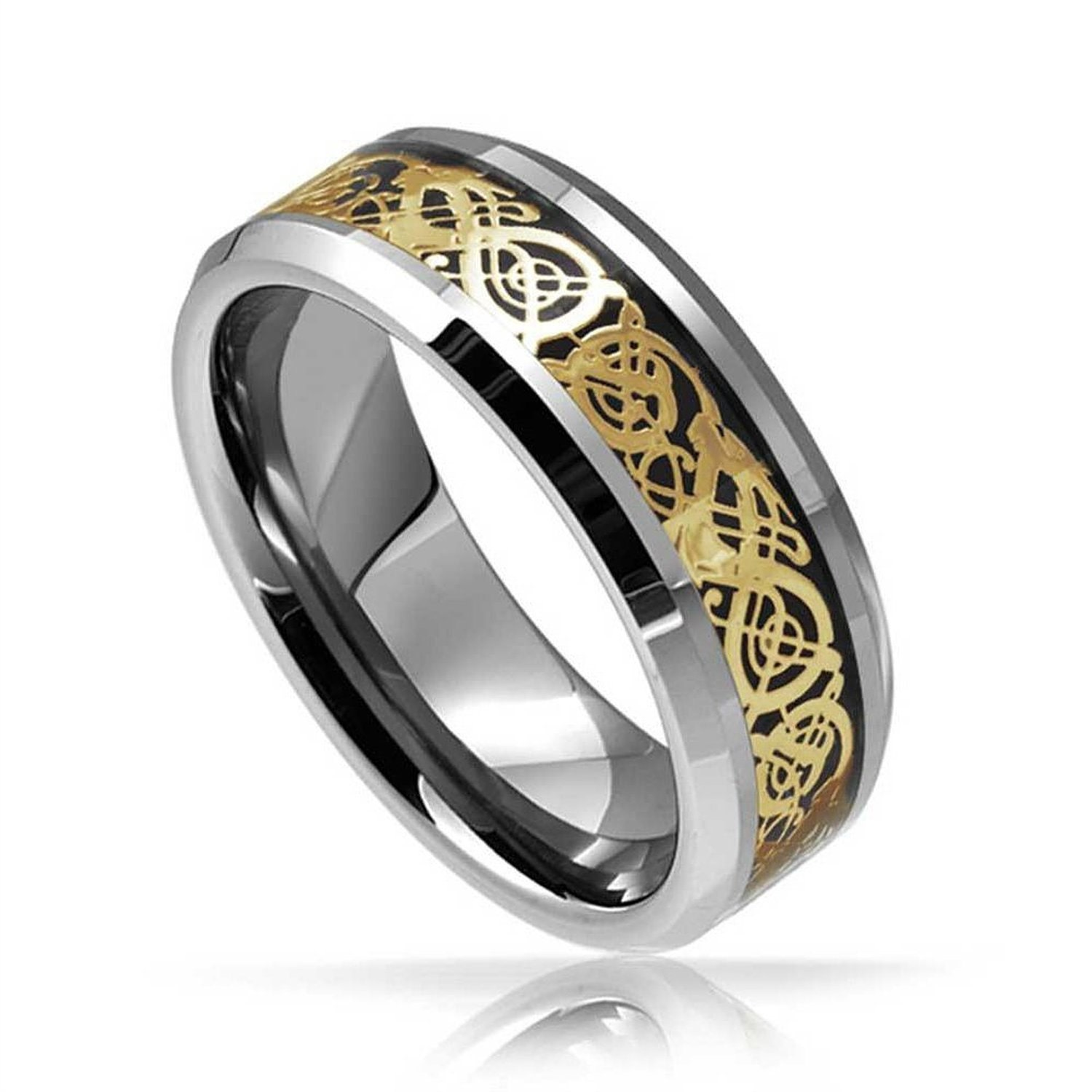 Mens Tungsten Wedding Band Celtic Golden Dragon 8MM