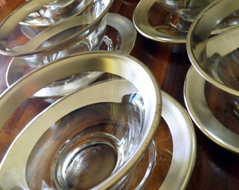 "Set of 8 AUTHENTIC 1960's Dorothy C. Thorpe (Mad Men) ""Silver Band"" Saucers & Footed Bowls--16 Pieces Total--Excellent Condition"