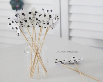 12 origami petal cake toppers | party toppers || table decorations || wedding picks || origami flowers  -black dots