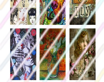 """Beauty Within 1"""" x 2"""" Domino Images 4x6 Digital Collage Sheet  Instant Download"""