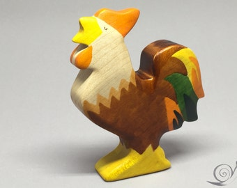 Toy Cock wooden brown colourful with head up Size: 9,0x7,0x2,0 cm (bxhxs) approx. 43 gr