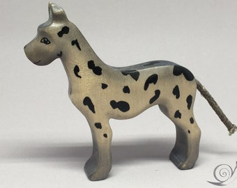 Toy Great Dane or Dalmatian wood grey with black spots 10,0x10,0x2,0 cm (bxhxs) approx.36,5 gr.