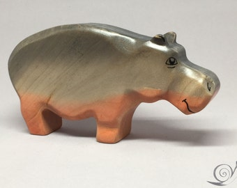 Toy Hippo wooden colourful grey pink Size:15,5 x 8,5 x 3,0 cm (bxhxs)  approx. 110,5 gr.