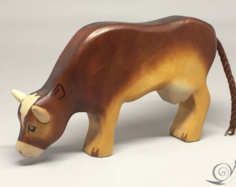 Toy Cow wooden colourful brown browsing Size: 15,5 x 9,5  x 2,7 cm (bxhxs)  approx. 113,0 gr.