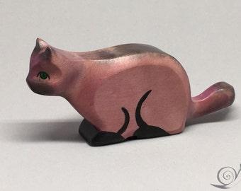 Toy Cat wooden purple black stalking prowling Size: 10,5x5,0x2,2 cm (bxhxs) approx. 30 gr