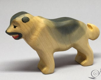 Toy Caucasian Shepherd  wooden white brown handmade Size: 11,0x7,0x2,5 cm (bxhxs) ca. 50 gr.