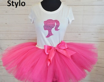 Doll birthday outfit,  FREE SHIPPING, birthday outfit,birthday girl outfit, barbie birthday tutu,hot pink tutu,girl birthday outfit