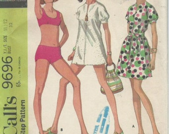 Vintage McCall's 9696 Young Junior/Teen Bathing Suit and Beach Dress in Two Lengths (1969)
