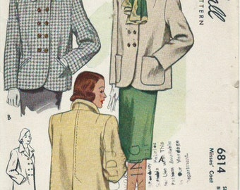 Vintage McCall's 6914 Sewing Pattern Double-Breasted Jacket with Pocket Variations (1947)