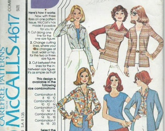 Vintage McCall's 4617 Sewing Pattern Misses' Top, Cardigan and Shirt (1975)