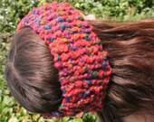 Hand knitted woolen headband - ear warmers - multi-color - made in Ireland
