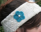 Hand knitted woolen headband - ear warmers - felt flower - made in Ireland = green - white