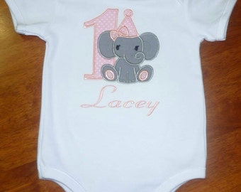 Personalised elephant girls first birthday romper