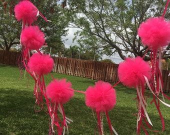 """8 (4"""")pom Pom  garland with hanging ribbons and chains attached to the bottom of Pom"""