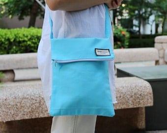 Crossbody bag / shoulder bag / travel bag with zipper  ~ All in blue (C5)
