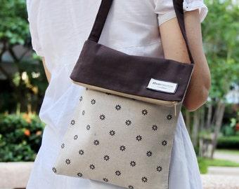Crossbody bag / shoulder bag / travel bag with zipper  ~ Little brown flowers (C8)