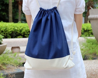 Drawstring backpack/ Cotton backpack/ Drawstring bag/ handmade backpack/ Gym bag/ Swim bag ~ Rainbow series (navy) (B27)