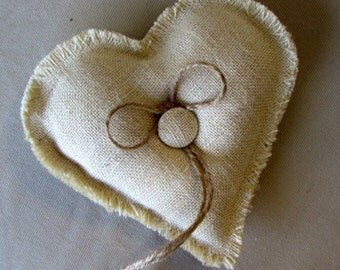 PARCHMENT Simple Heart ring bearer pillow