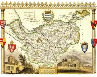Cheshire 1840. Antique map of the County of Cheshire, England by Thomas Moule - MAP PRINT