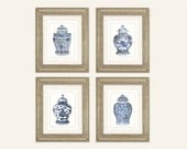 Set of 4 Blue & White Ginger Jar Fine Art Prints on Archival Watercolor Paper