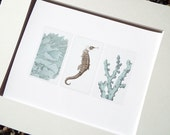 Soft Blue Sea Life Collection 4 of Coral Specimen, Sea Horse & Coral Branch Archival Quality Print