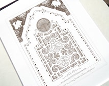 Antique French Garden Plan 1 In Sepia, Navy & Sea Glass Blue Archival Print