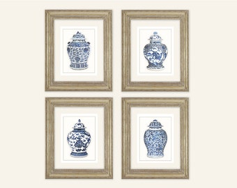 Set of 4 Blue & White Ginger Jar Fine Art Prints on Archival Watercolor Paper