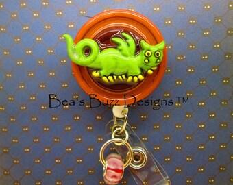 Little monster - Retractable Id Badge Reel,Designer Badge Holders,Cute Badge Clip, Bling Badges Id,Nurse Teacher Gift,Jewelry Gift,pediatric
