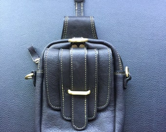 Black leather pocket attachment